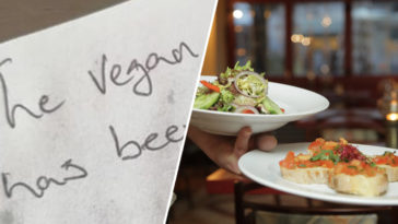 A vegan diner received an 'insulting' note off a waiter when they asked what the meat-free alternatives were.