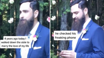 A bride has called out her groom for checking his phone as she was walking down the aisle.