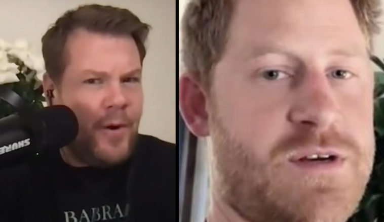 James Corden has defended his mate, Prince Harry, over his decision for him and his family to quit Royal duties in the UK.