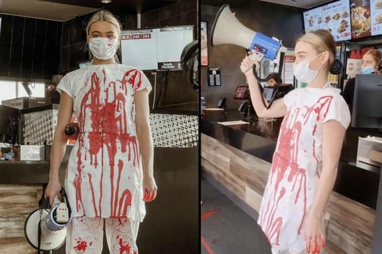 Vegan activists trashed a KFC, in Melbourne, Australia, with fake blood in a staged protest against the 'animal abusers'.
