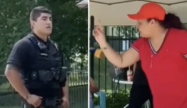 A family was threatened by a woman at the community pool because they were playing Spanish music.