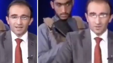 Footage of a 'fearful' news anchor in Afghanistan is circulating, as it shows him reading out headlines while surrounded by the Taliban.