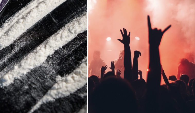 A Leeds Festival drug dealer allegedly tried to pitch his tent over the spot he buried a mountain of cocaine in two years ago.