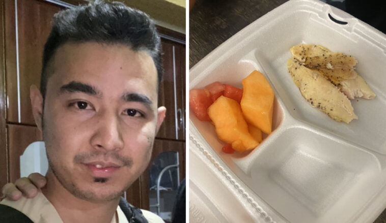 An Afghan refugee's photo of food rations in the US has divided opinion on Twitter.