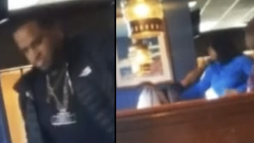 The moment a woman reportedly caught her 'cheating' husband with his mistress in a Red Lobster restaurant has been caught on camera.