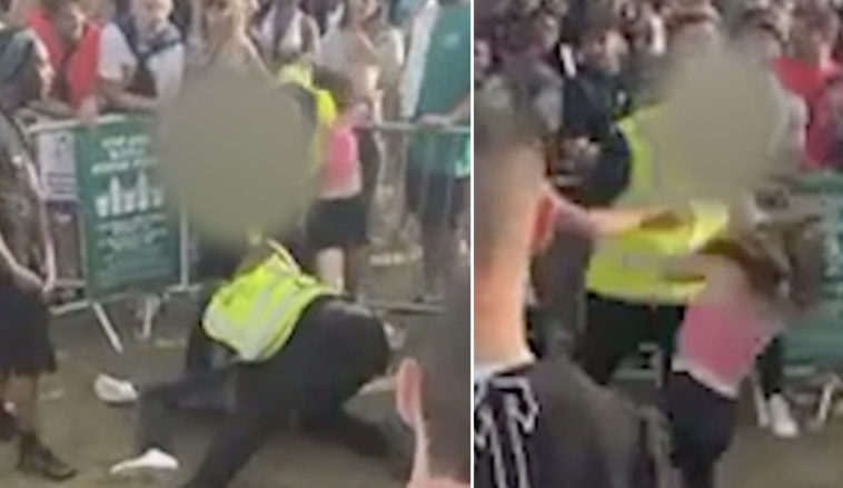 The shocking moment a woman was 'slapped by a security guard' at Wireless Festival has been shared online.