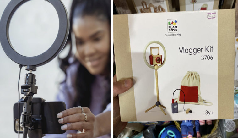 A pretend vlogger kit for kids has caused a huge debate on social media.