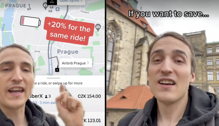 A man has claimed that Uber 'charges more' for taxis when the customer booking the service has a low battery on their phone.