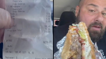 A Five Guys diner, known as @abrakebabra_reviews, has slammed the 'slop' burgers being served after being charged $215.