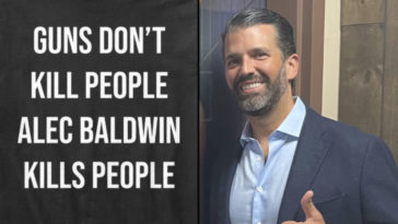 Donald Trump Junior has been slammed for trying to flog 'tasteless' T-shirts mocking Alec Baldwin for 'discharging a prop gun that killed' cinematographer Halyna Hutchins.